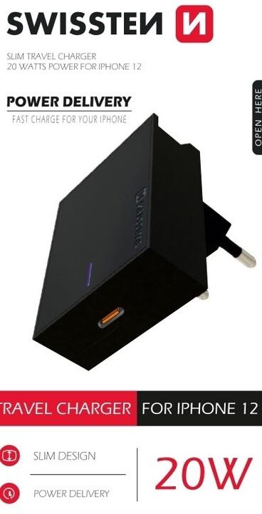 SWISSTEN síťový adaptér pro iPhone 12, 20W, černá