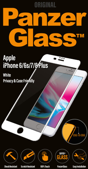 PanzerGlass Edge-to-Edge Privacy pro Apple iPhone 6/6s/7/8 Plus, bílé