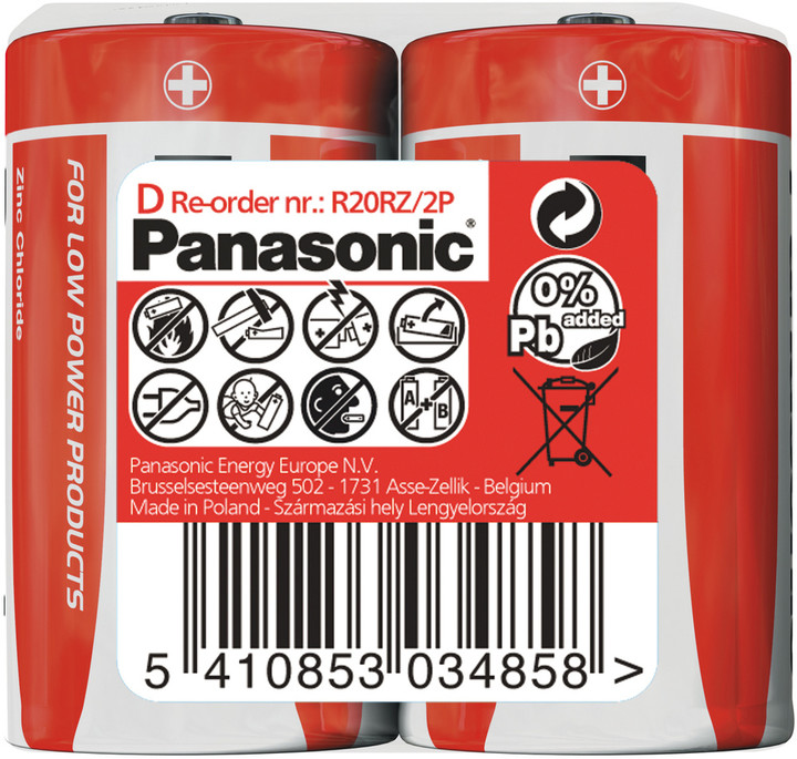 Panasonic baterie R20 2S D Red zn