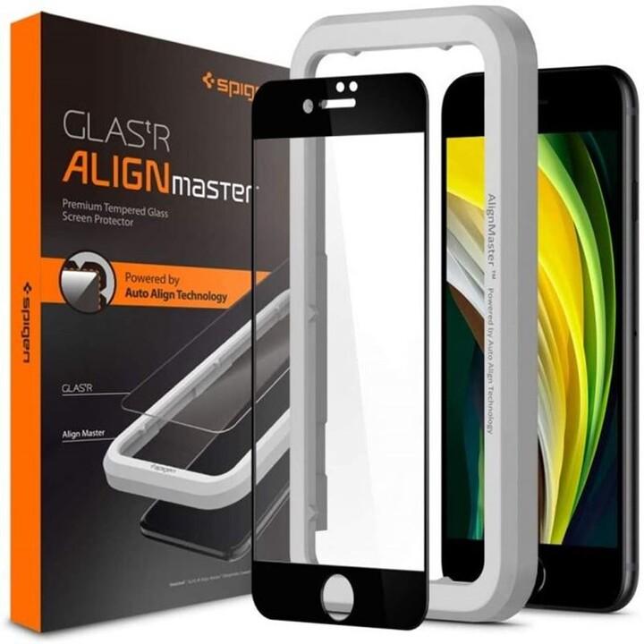 Spigen ochranné sklo AlignMaster FC pro iPhone 7/8/SE(2020), černá