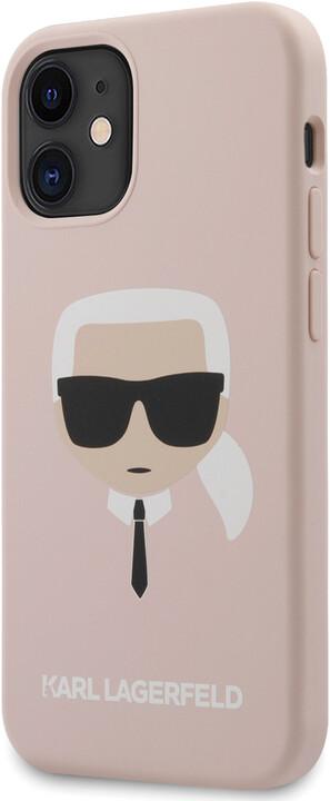 """KARL LAGERFELD silikonový kryt Head pro iPhone 12 Mini (5.4""""), světle růžová"""
