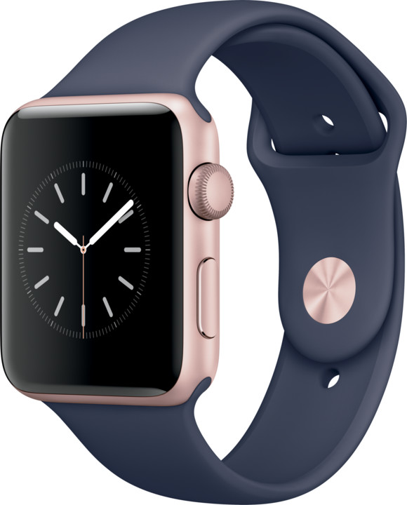 Apple Watch 2 42mm Rose Gold Aluminium Case with Midnight Blue Sport Band