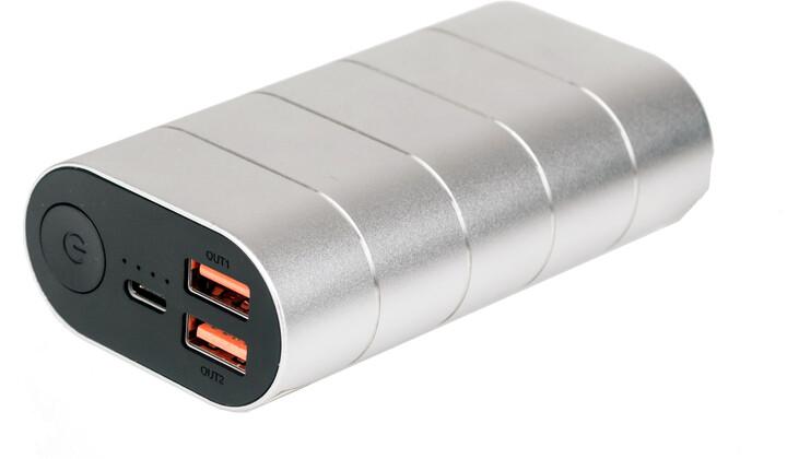 Verbatim powerbanka 10000mAh, 2x USB-A + USB-C, PD, QC 3.0, kovová, šedá/stříbrná