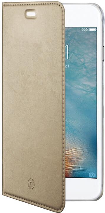 CELLY Air ultra tenké pouzdro typu kniha pro Apple iPhone 7 Plus, PU kůže, zlaté