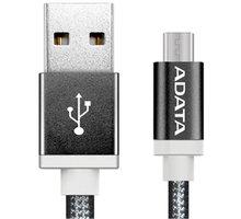 ADATA Micro USB kabel pletený, 1m, černý - AMUCAL-100CMK-CBK