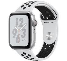 Apple Watch Nike+ Series 4, 44mm, pouzdro ze stříbrného hliníku/černý řemínek