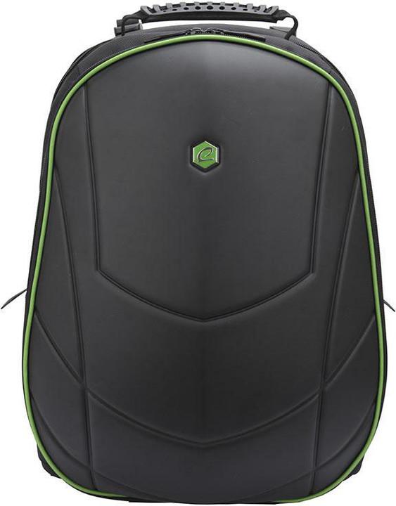 """BESTLIFE batoh 17"""" s USB konektorem, černá se zelenými prvky"""