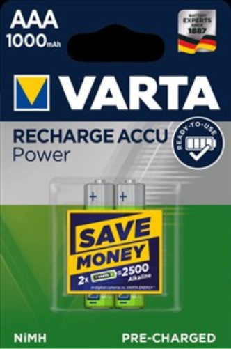 VARTA nabíjecí baterie Power AAA 1000 mAh, 2ks