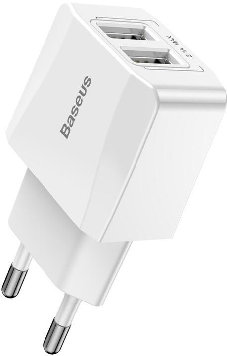 Baseus síťová nabíječka Mini Dual-U (EU) 2.1A, bílá