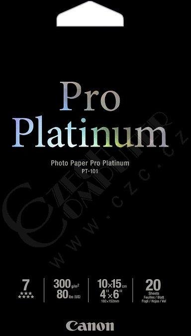 Canon Foto papír Pro Platinum PT-101, 10x15 cm, 20 listů, 300g/m2, lesklý