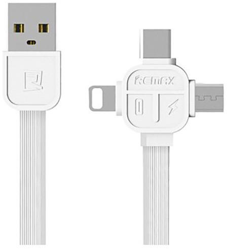 Remax RC-066th datový kabel 3v1 kompatibilní Micro/Lightning /Type-C , délka 1m, bílá barva