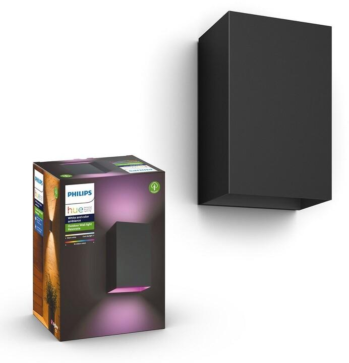 Philips Venkovní nástěnné svítidlo HUE Resonate, LED, RGBW, 2x8W, černá