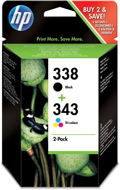 HP SD449EE, č. 338, č. 343, černá + barevná, Combo Pack – ušetřete až 20 % oproti standardní náplni