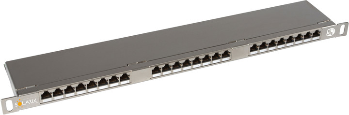 Solarix Patch panel 24xRJ45 CAT5E STP s vyvazovací lištou nerez 0,5U SX24HD-5E-STP-SL