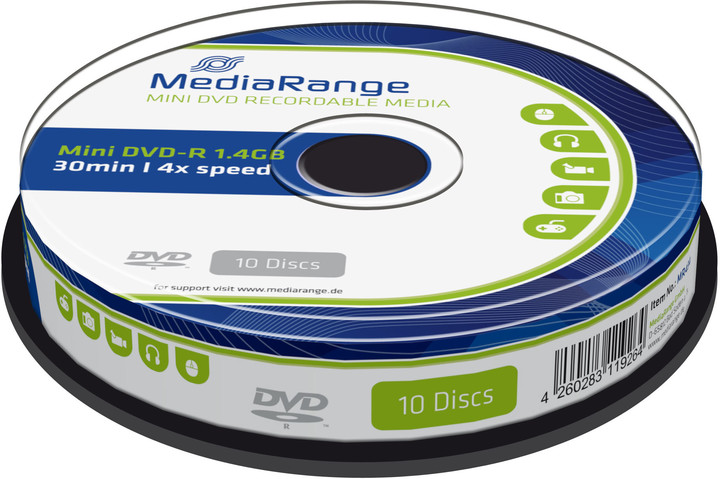 MediaRange DVD-R 8cm 1,4GB 4x, Spindle 10ks