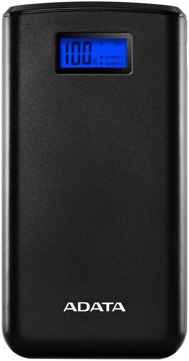 ADATA powerbanka S20000D, externí baterie pro mobil/tablet 20000mAh, černá