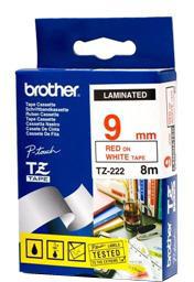 Brother - TZE-222, bílá/červená (9mm)