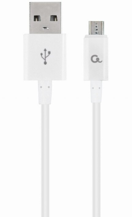 Gembird kabel CABLEXPERT USB-A - MicroUSB, M/M, 1m, bílá