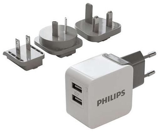 Philips cestovní nabíječka, 2x port, podpora rychlonabíjení