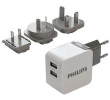 Philips cestovní nabíječka, 2x port, podpora rychlonabíjení - Phil-DLP2220/10