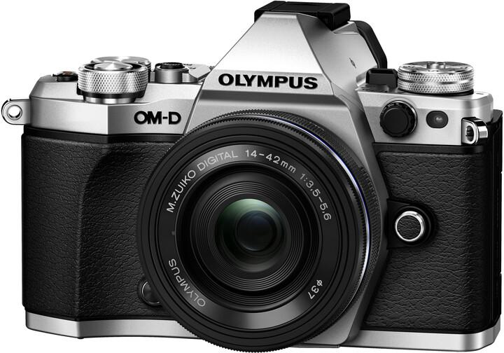 Olympus E-M5 Mark II + 14-42 EZ, stříbrná/černá
