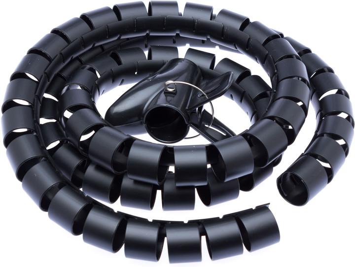CONNECT IT trubice pro vedení kabelů WINDER, 1,5m x 30mm, černá