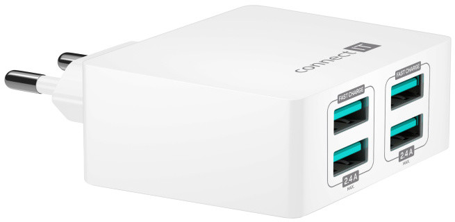 CONNECT IT Fast Charge nabíjecí adaptér 4×USB-A, 4,8A, bílá