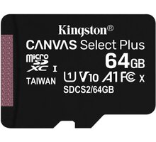 Kingston Micro SDXC Canvas Select Plus 100R 64GB 100MB/s UHS-I - SDCS2/64GBSP