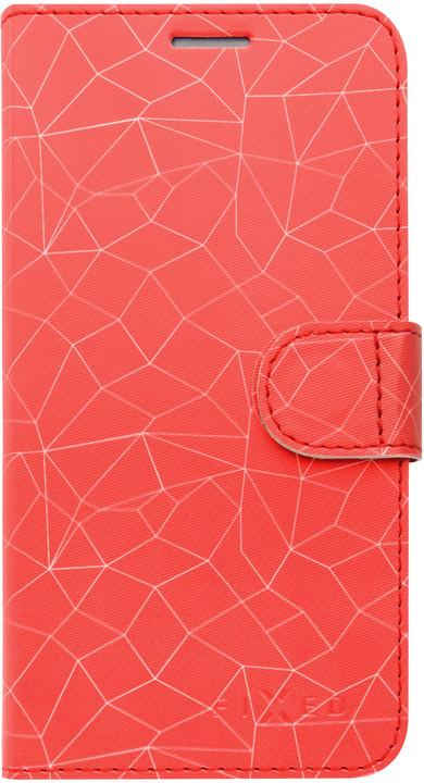FIXED FIT pouzdro typu kniha pro Apple iPhone XR, motiv Red Mesh