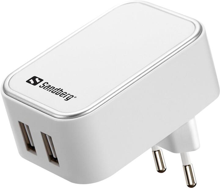 Sandberg napájecí adaptér AC Charger Dual USB 2A EU, bílá