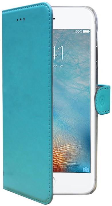 CELLY Wally pouzdro typu kniha pro Apple iPhone 7, PU kůže, tyrkysová