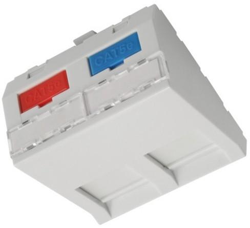 Solarix modul French style 45 x 45mm pro 2 keystony úhlový bílý SXF-M-2-45-WH-U
