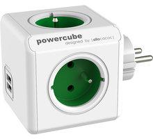 PowerCube ORIGINAL USB rozbočka-4 zásuvka, zelená - 8718444085973