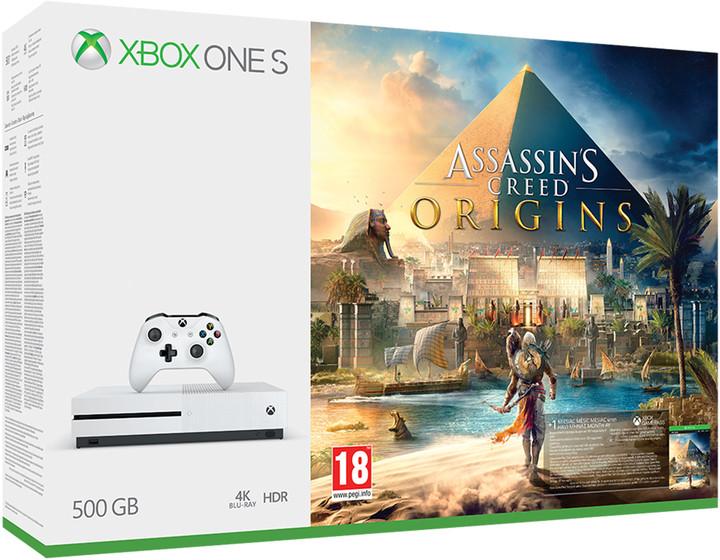 XBOX ONE S, 500GB, bílá + Assassin's Creed: Origins