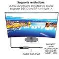 Club3D adaptér USB-C - DisplayPort 1.4, M/F, 8K@60Hz, 22cm, stříbrná