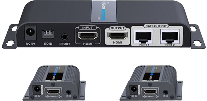 PremiumCord HDMI 1-2 splitter + extender po CAT6/6a/7, FULL HD, 3D