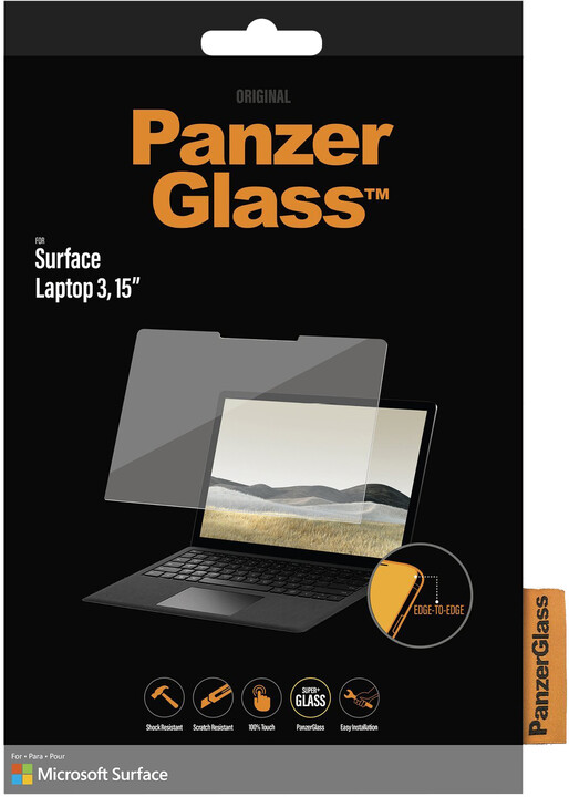 "PanzerGlass Edge-to-Edge pro Microsoft Surface Laptop 3, 15"" , čirá"