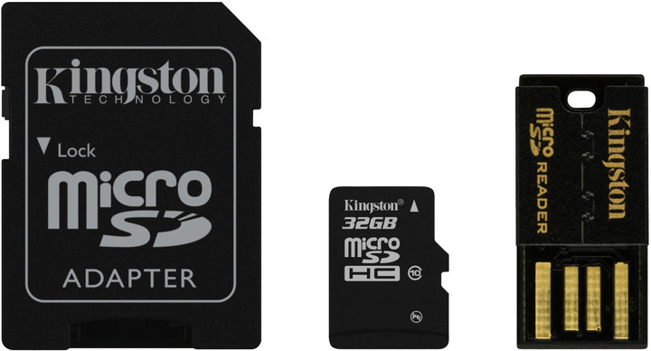 Kingston Micro SDHC 32GB Class 10 + SD adaptér + USB čtečka