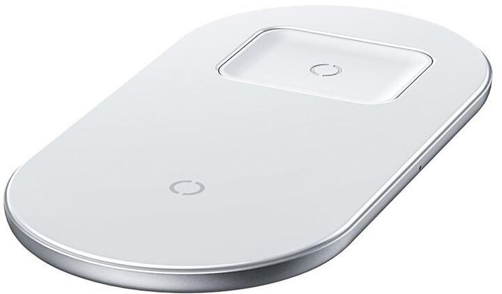 Baseus Smart 2-in-1 bezdrátová nabíječka, bílá