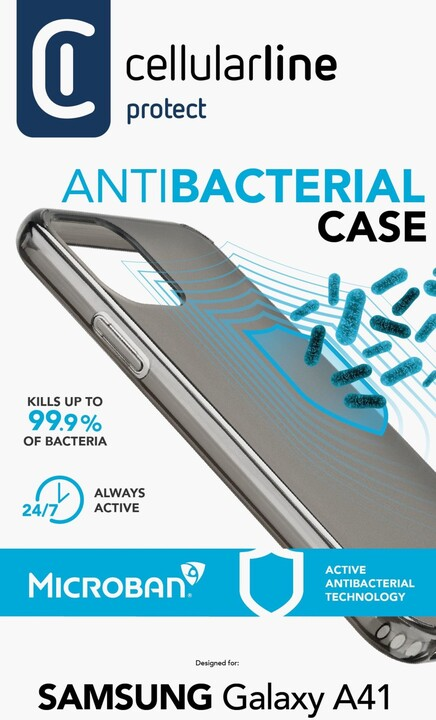 Cellularline ochranný kryt pro Samsung Galaxy A41, antimikrobiální, černá