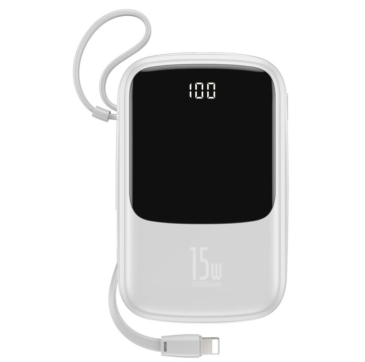 Baseus Q-Pow rychlonabíjecí powerbanky s LCD displejem 10000 mAh, bílá