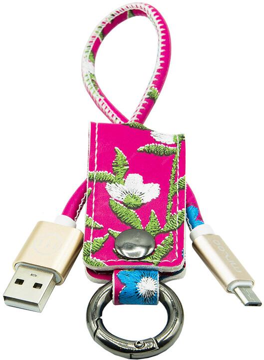 MIZOO USB/ micro USB klíčenka K2-01m, červeně květovaná