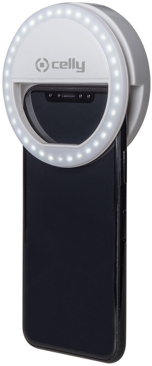 CELLY Click Light Pro, přídavný blesk na fotoaparát, bílý