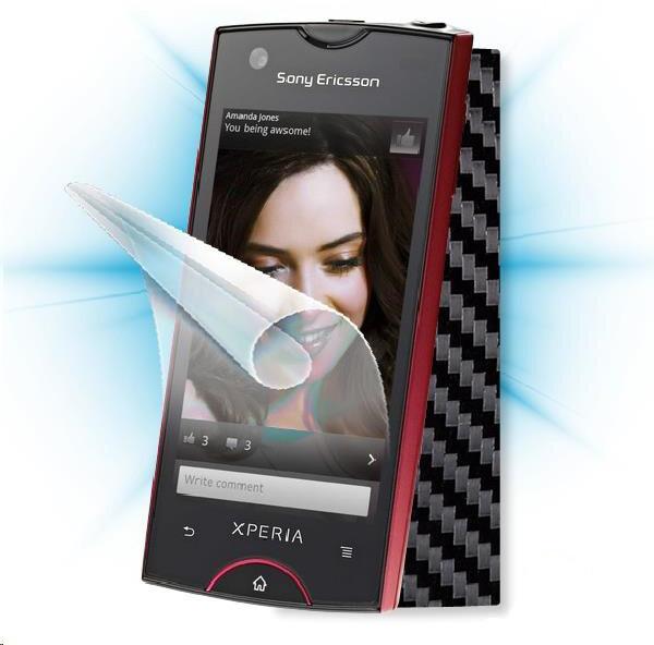 ScreenShield fólie na displej + carbon skin (černá) pro Sony Ericsson Xperia ray (ST18)