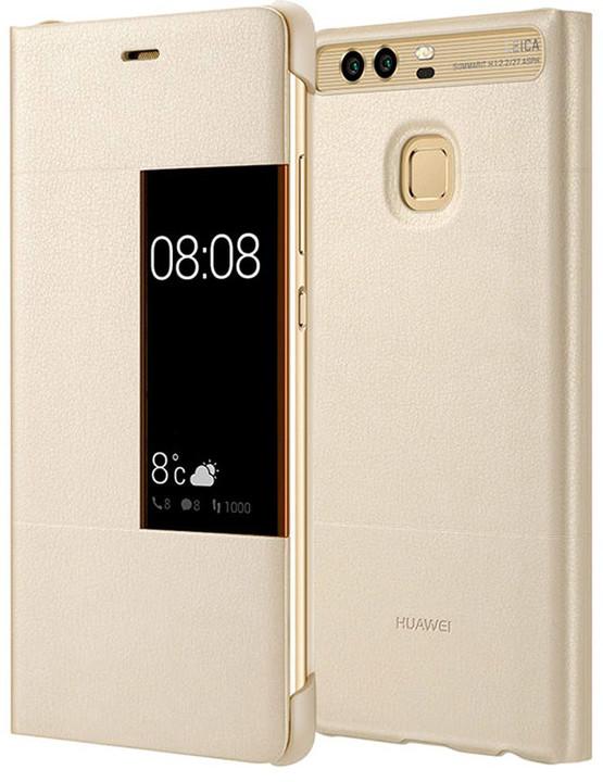 Huawei Original S-View Pouzdro Gold pro P9 (EU Blister)