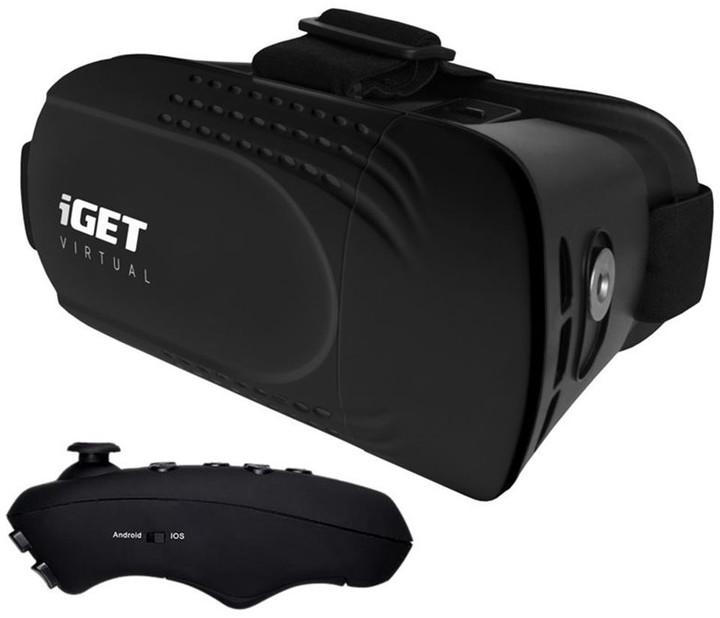iGET Virtual R2 VR brýle + BT dálkový ovladač, černá