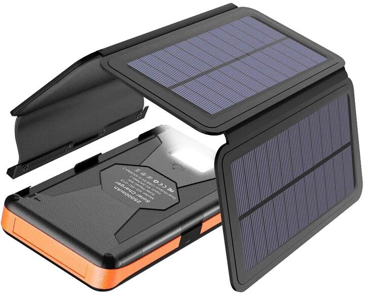Allpowers solární nabíječka, 6W + powerbanka 25000mAh, černá/oranžová