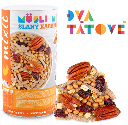 Mixit müsli Pečený Mixit: Slaný karamel & pekan - ořechy/ovoce/čokoládové křupinky, 470g