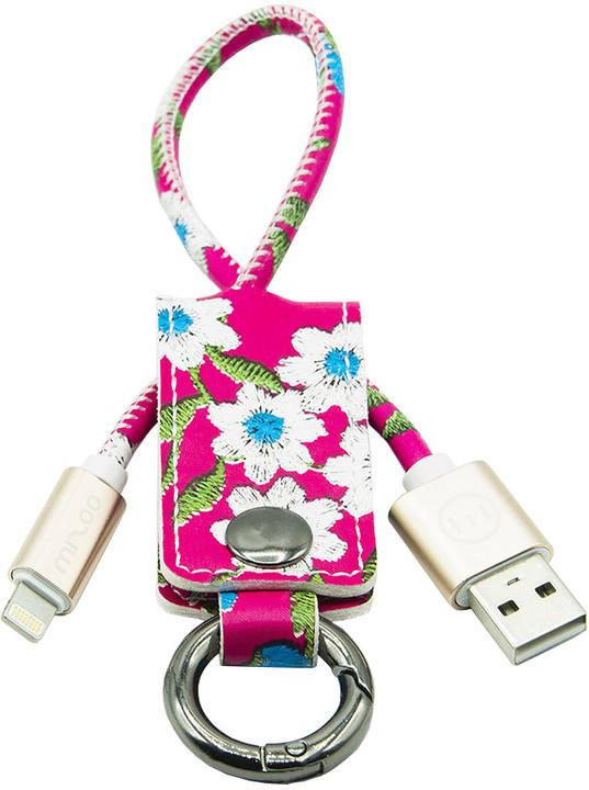 MIZOO USB/ lightning klíčenka K2-01i, červeně květovaná