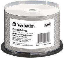 Verbatim DVD-R 16x 4,7GB Spindle, Wide Glossy Waterproof Print 50ks 43734